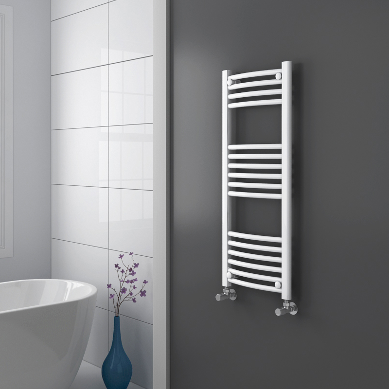 Diamond Curved Heated Towel Rail - W400 x H1000mm - White profile large image view 2