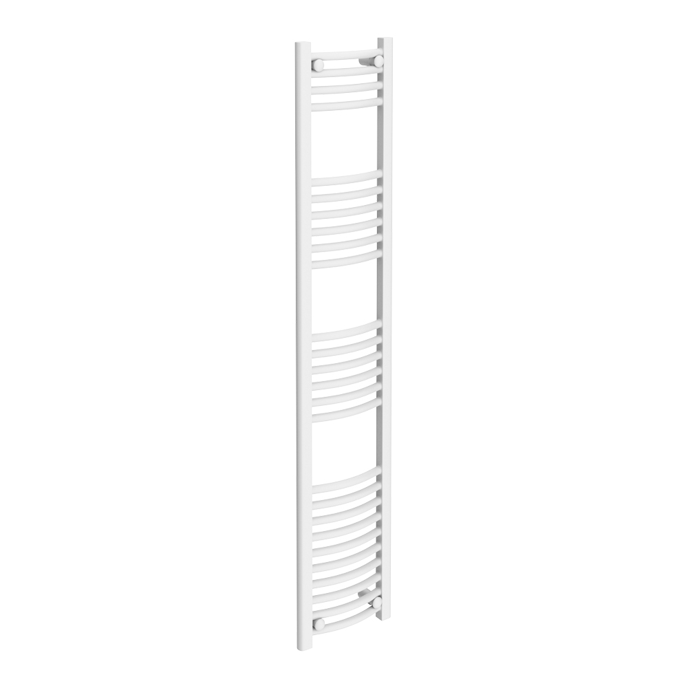 Diamond Curved Heated Towel Rail - W300 x H1600mm - White Large Image
