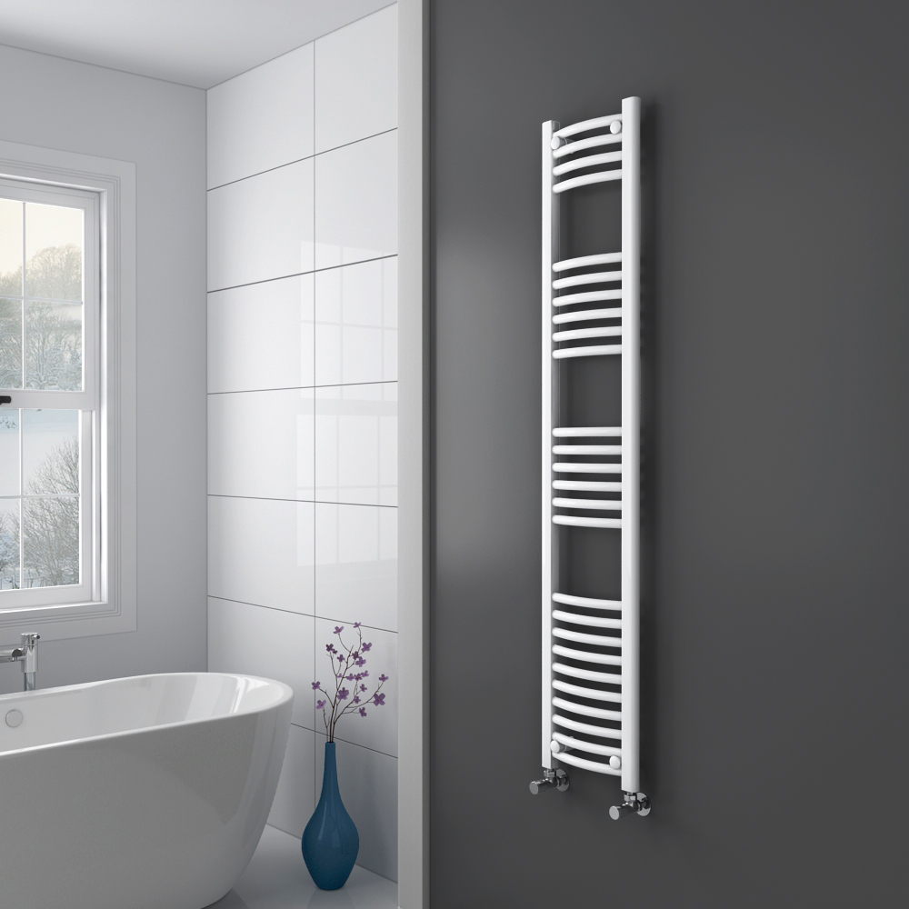 Diamond Curved Heated Towel Rail - W300 x H1600mm - White Profile Large Image