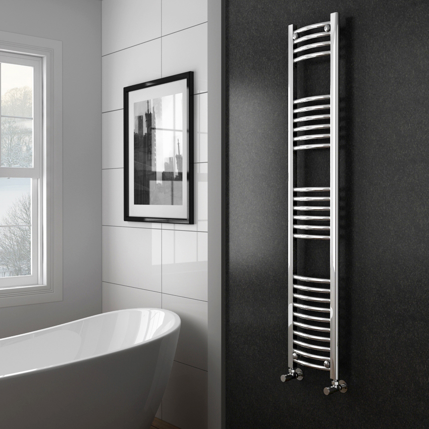 Diamond Curved Heated Towel Rail - W300 x H1600mm - Chrome profile large image view 2