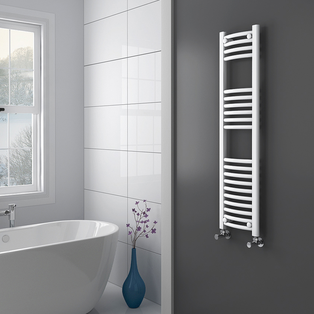 Diamond Curved Heated Towel Rail - W300 x H1200mm - White profile large image view 2