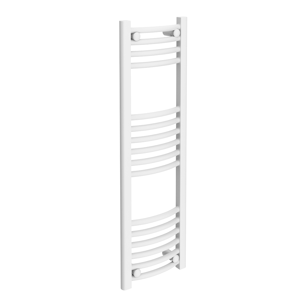 Diamond Curved Heated Towel Rail - W300 x H1000mm - White Large Image