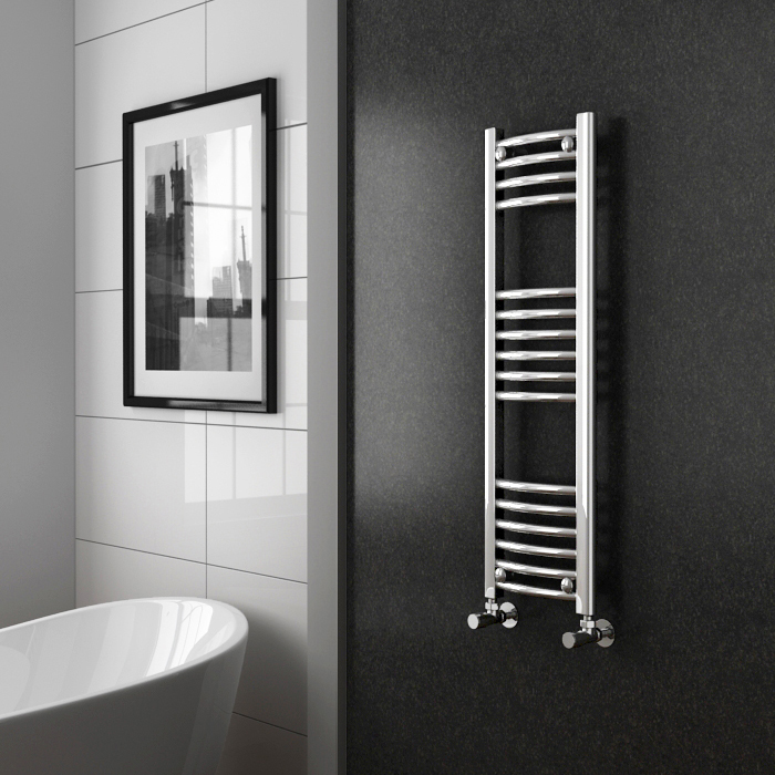 Diamond Curved Heated Towel Rail - W300 x H1000mm - Chrome Profile Large Image