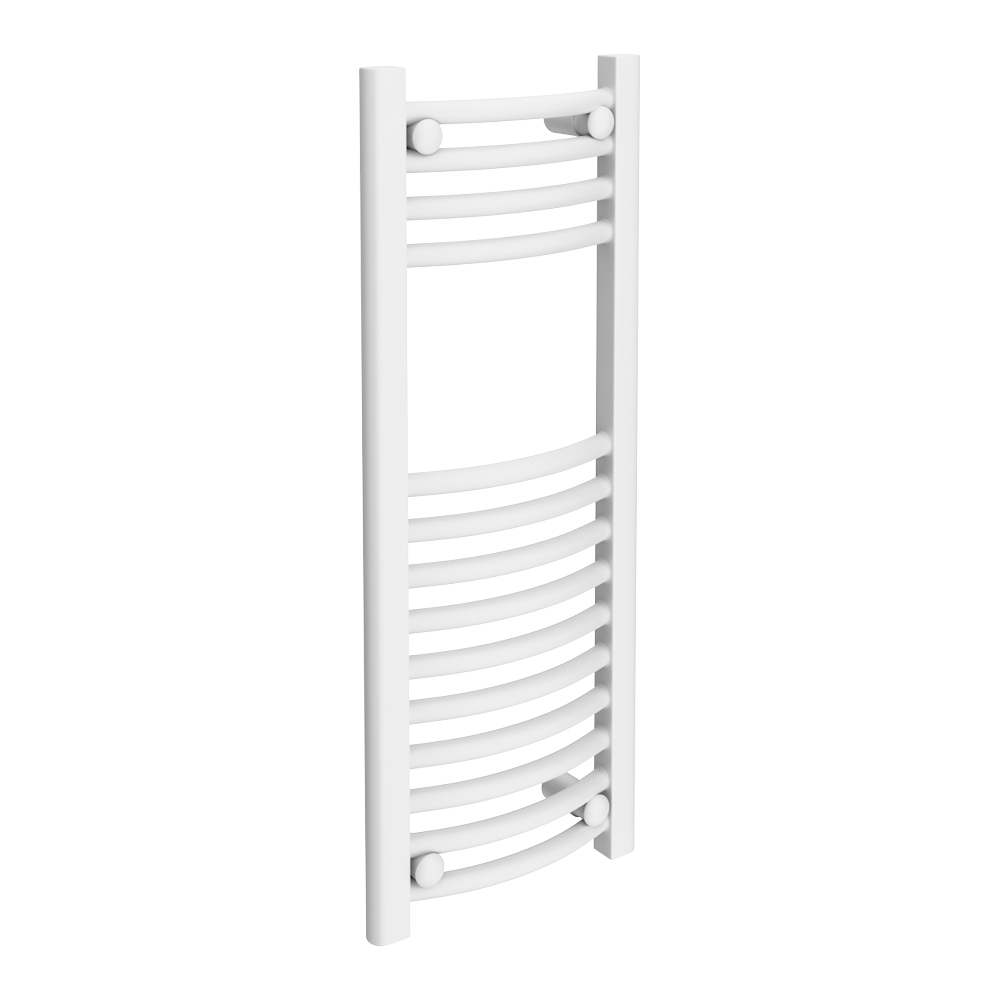 Diamond Curved Heated Towel Rail - W300 x H800mm - White Large Image
