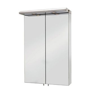 Croydex - Colorado Large Double-Door Illuminated Mirror Cabinet - Stainless Steel - WC786105E Large Image