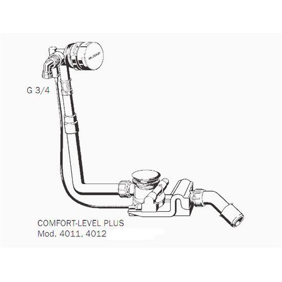 Kaldewei - Comfort Level Plus+ Pop Up Bath Waste & Filler - Extended - 4012 Profile Large Image