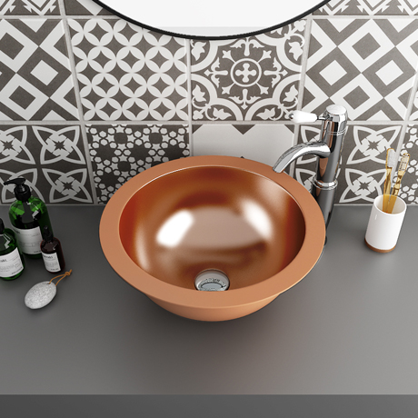 Trafalgar Polished Copper 407mm Round Counter Top Basin