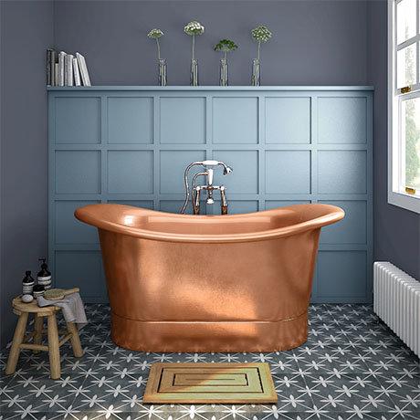 Trafalgar Copper 1500 x 710mm Double Ended Slipper Roll Top Bath Tub