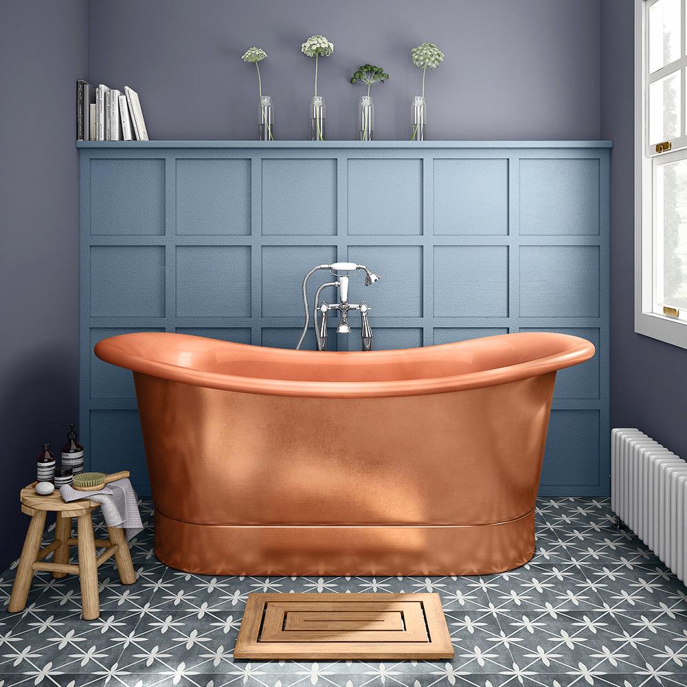 Trafalgar Copper 1700 x 710mm Double Ended Slipper Roll Top Bath Tub