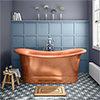 Trafalgar Copper 1700 x 710mm Double Ended Slipper Roll Top Bath Tub profile small image view 1