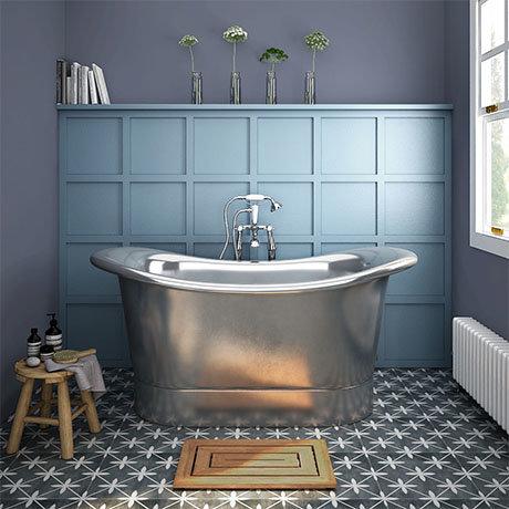 Trafalgar Nickel 1500 x 710mm Double Ended Slipper Roll Top Bath Tub