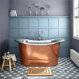 Trafalgar Copper 1500 x 710mm Double Ended Slipper Roll Top Bath Tub (Nickel Inside)