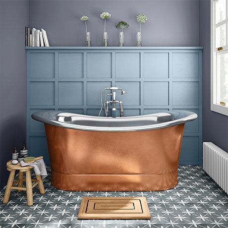Trafalgar Copper 1700 x 710mm Double Ended Slipper Roll Top Bath Tub (Nickel Inside)