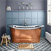 Trafalgar Copper 1700 x 710mm Double Ended Slipper Roll Top Bath Tub (Nickel Inside) profile small image view 1