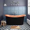 Trafalgar Matt Black 1700 x 710mm Double Ended Slipper Roll Top Bath Tub (Copper Inside) profile small image view 1