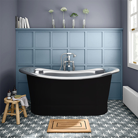 Trafalgar Matt Black 1700 x 710mm Double Ended Slipper Roll Top Bath Tub (Nickel Inside)