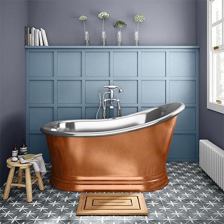 Trafalgar Copper 1500 x 787mm Slipper Roll Top Bath Tub (Nickel Inside)