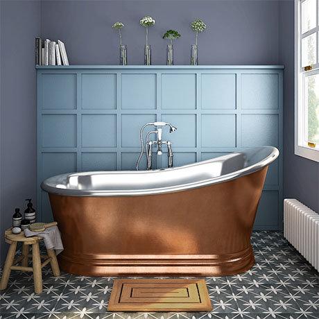 Trafalgar Copper 1700 x 787mm Slipper Roll Top Bath Tub (Nickel Inside)