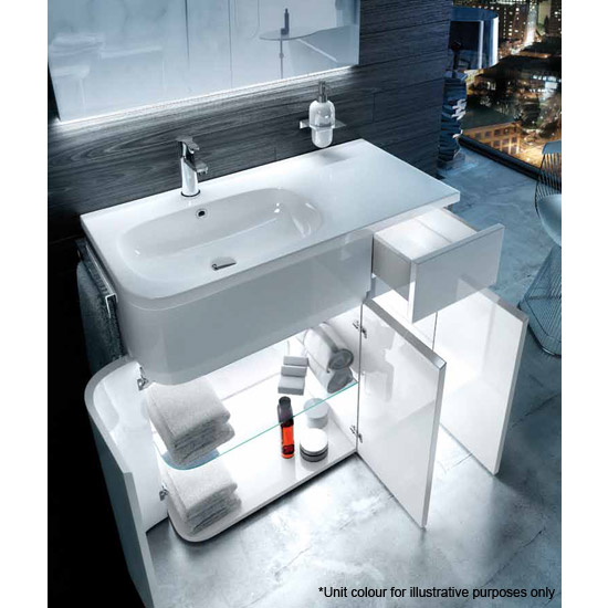 Aqua Cabinets - W900 x D450 Arc Cabinet Unit with Quattrocast Basin - Ocean Standard Large Image
