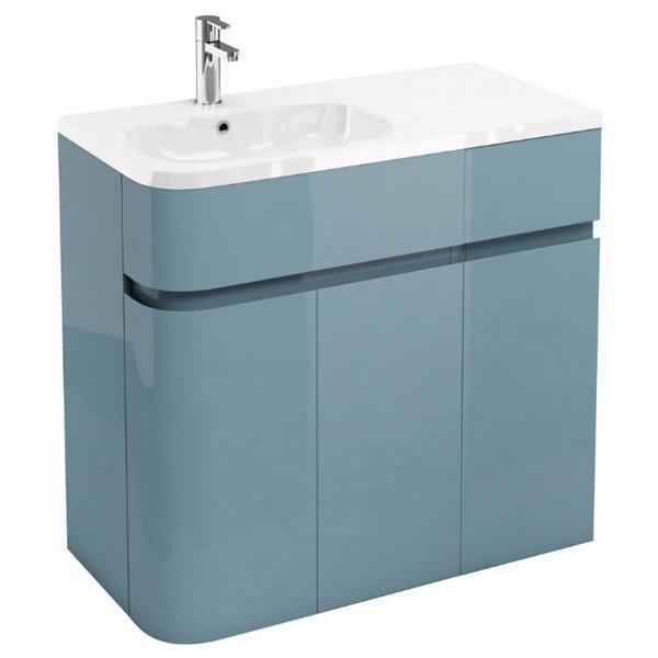 Aqua Cabinets - W900 x D450 Arc Cabinet Unit with Quattrocast Basin - Ocean Large Image