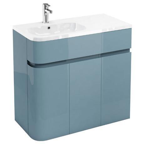 Aqua Cabinets - W900 x D450 Arc Cabinet Unit with Quattrocast Basin - Ocean