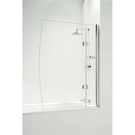 Coram - Hinged D Bathscreen with Side Panel -Chrome - 2 Size Options
