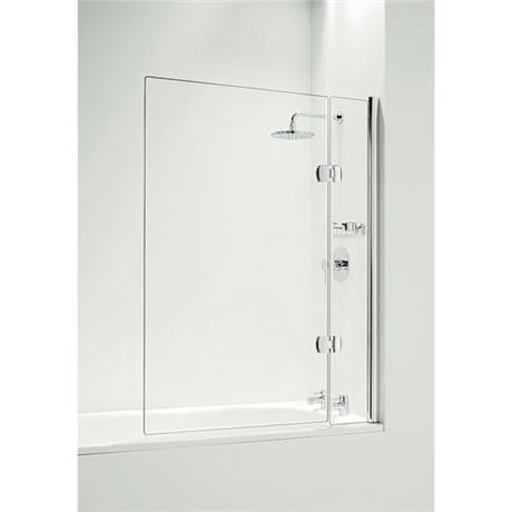 Coram - Hinged Square Bathscreen with Side Panel - Chrome - 2 Size Options