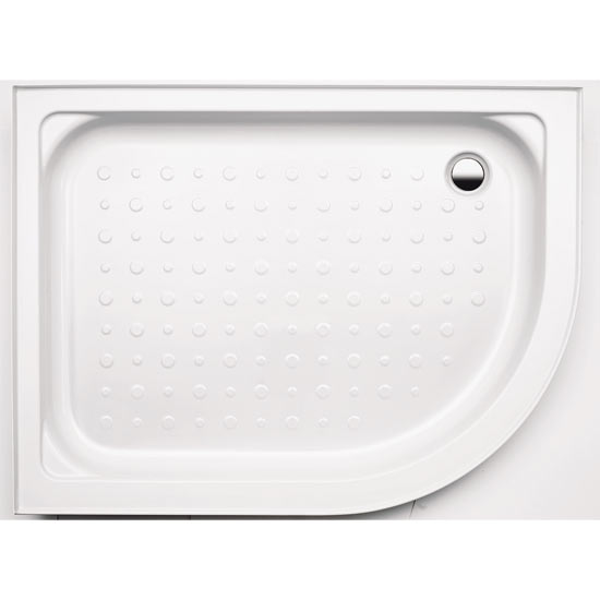Coram - Universal Offset Quad Shower Tray with Upstands & Waste - 1200 x 900mm - Left or Right Hand