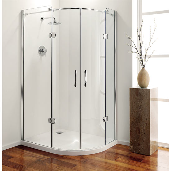 Coram Frameless Premier Hinged Offset Quadrant - 1200mm x 900mm - Left or Right Option profile large image view 1