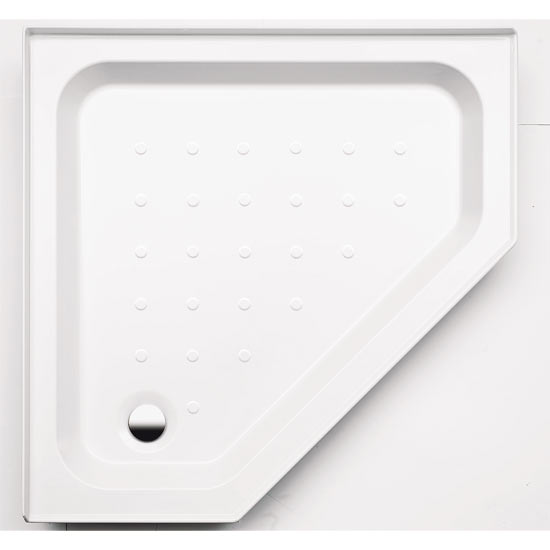 Coram - Pentagon Shower Tray with Upstands & Waste - YDP90WHI Large Image