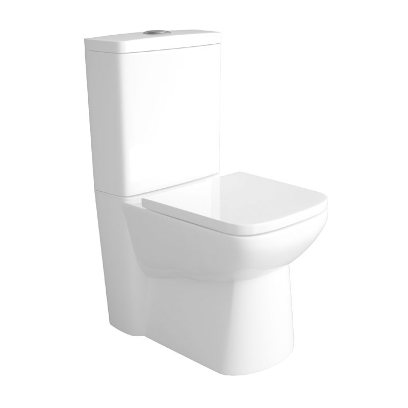 Hudson Reed - Compact Back To Wall Close Coupled Toilet with Top Fix Soft Close Seat - CPC002 Large Image