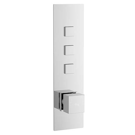 Hudson Reed Ignite Square Three Outlet Push-Button Thermostatic Shower Valve Chrome - CPB3312