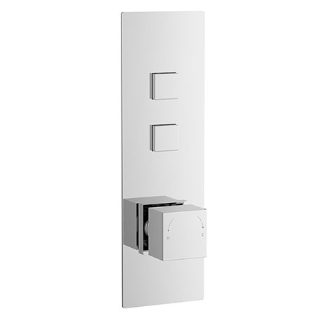 Nuie Square Push Button Shower Valve - Two Outlet - CPB7311