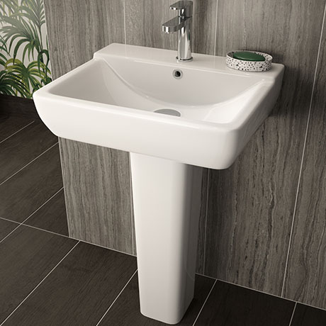 Hudson Reed Arlo 550mm 1TH Basin + Full Pedestal