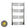 Reina Capo H1000 x W600mm Chrome Curved Electric Towel Rail profile small image view 1