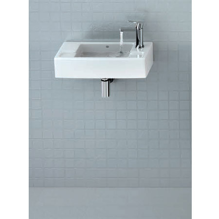 Britton Bathrooms - Narrow Cloakroom Washbasin - Left or Right Handed Option profile large image view 2