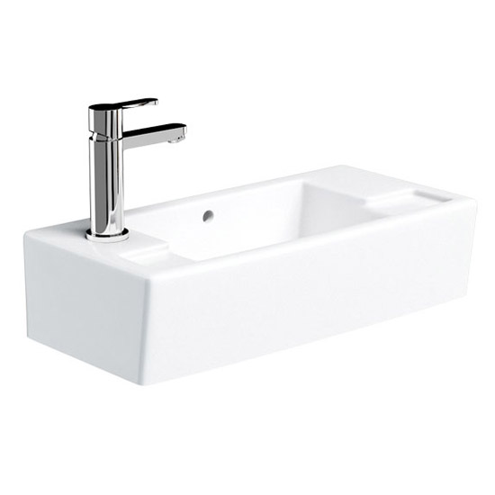 Britton Bathrooms - Narrow Cloakroom Washbasin - Left or Right Handed Option Large Image