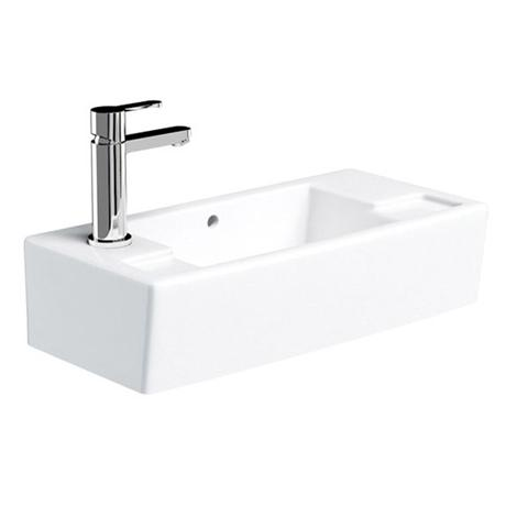 Britton Bathrooms - Narrow Cloakroom Washbasin - Left or Right Handed Option