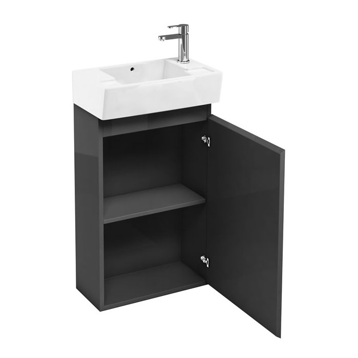 Britton Bathrooms - Deep cloakroom floor standing unit with Basin - Anthracite Grey profile large image view 2