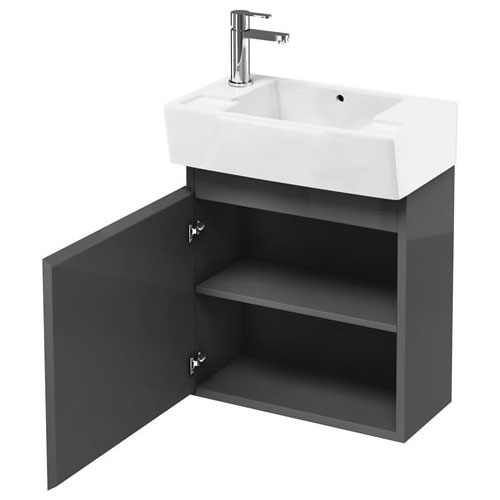 Britton Bathrooms - Deep Cloakroom Wall Mounted Unit with Basin - Anthracite Grey profile large image view 3