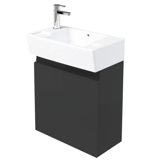 Britton Bathrooms - Deep Cloakroom Wall Mounted Unit with Basin - Anthracite Grey Large Image
