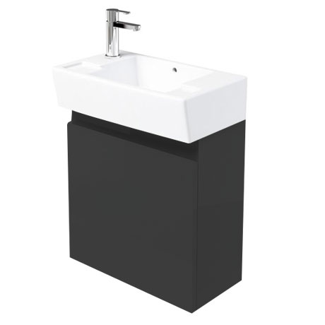Britton Bathrooms - Deep Cloakroom Wall Mounted Unit with Basin - Anthracite Grey