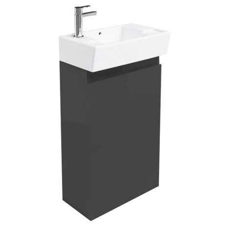 Britton Bathrooms - Deep cloakroom floor standing unit with Basin - Anthracite Grey