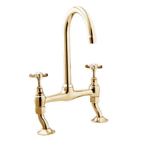 Deva Coronation Bridge Sink Mixer w/ Swivel Spout - Gold - CR305/501 Large Image
