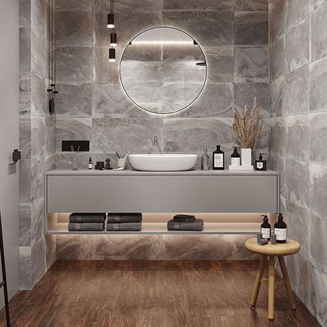Carina Slate Effect Wall Tiles - Grey - 307 x 607mm