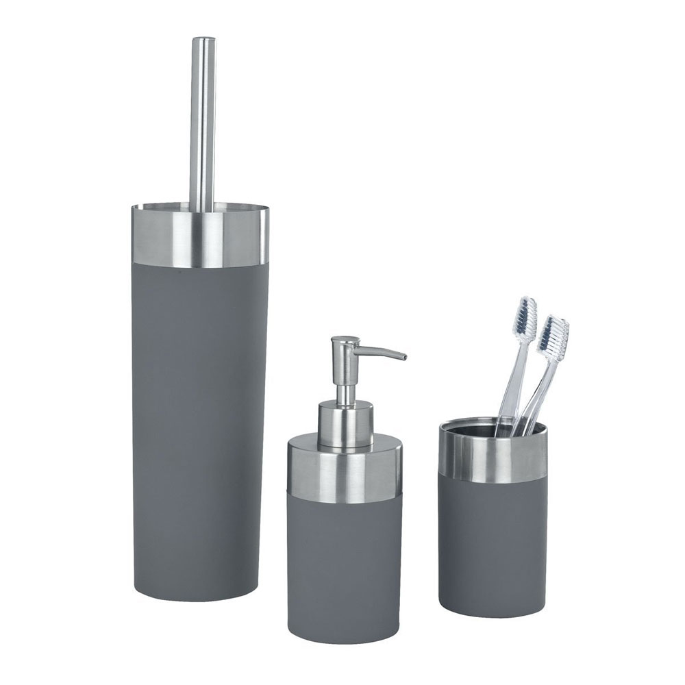 Wenko creta bathroom accessories set grey at victorian for Bathroom accessories uk