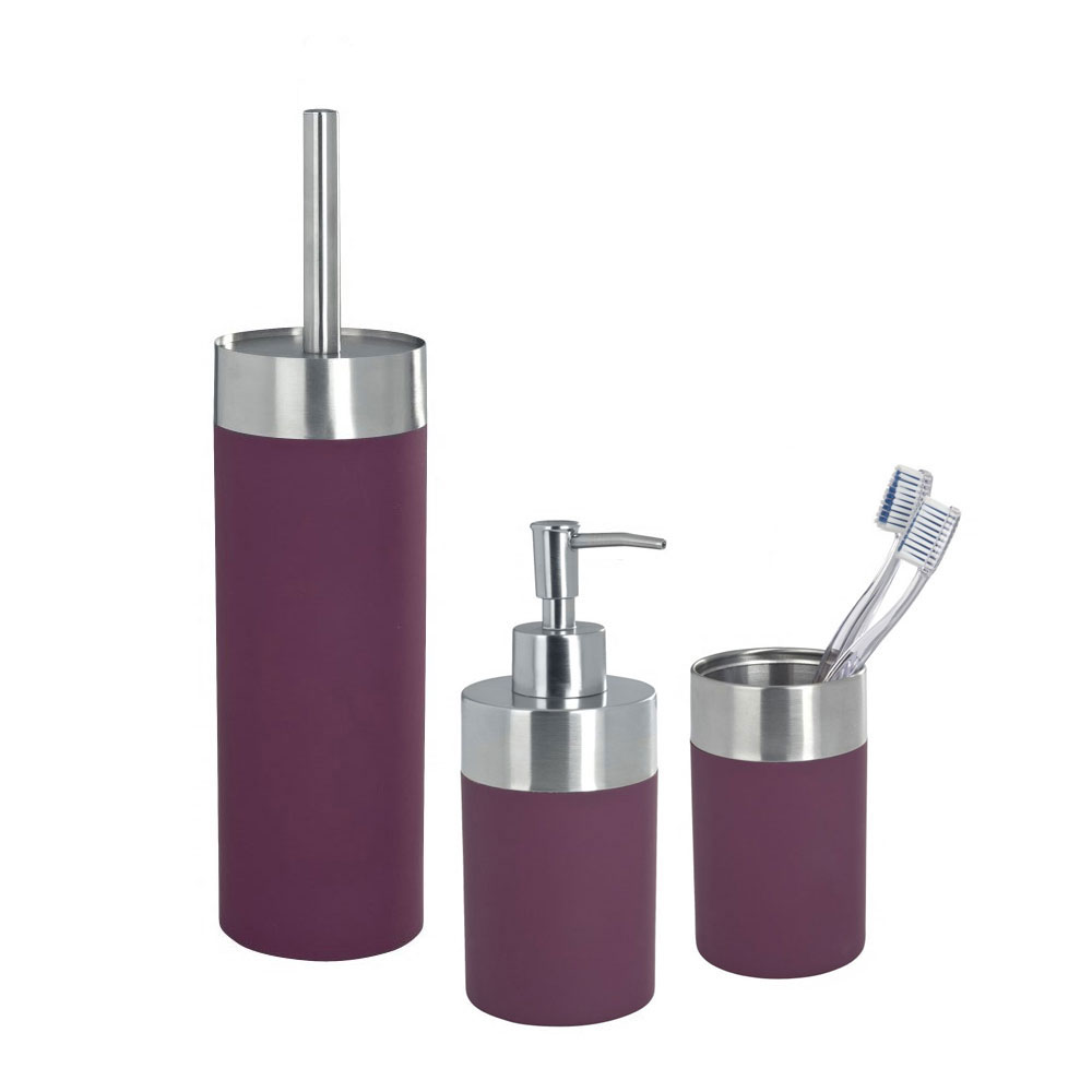 Wenko creta bathroom accessories set purple at victorian for Bathroom ensembles sets
