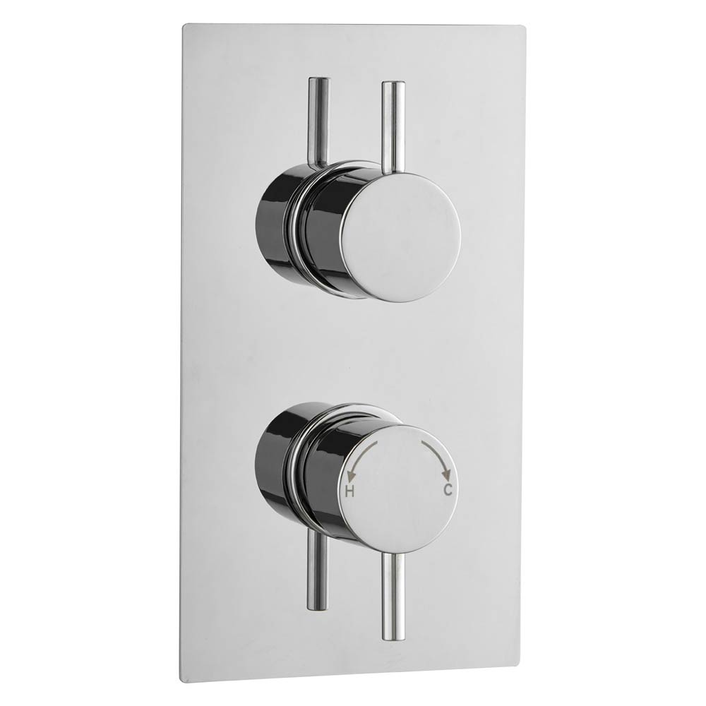 Cruze Twin Round Concealed Shower Valve with Diverter - Chrome Large Image