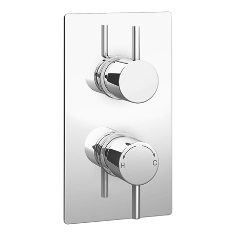 Cruze Twin Round Concealed Shower Valve with Diverter - Chrome
