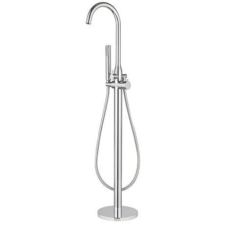 Cruze Modern Thermostatic Floor Mounted Freestanding Bath Shower Mixer - Chrome